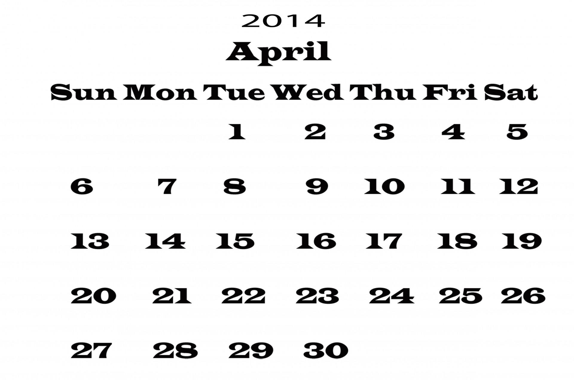 Calendar April Template Free Stock Photo