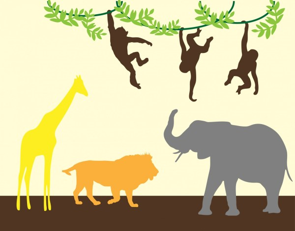 Elephant Silhouette Clip Art Jungle Animals