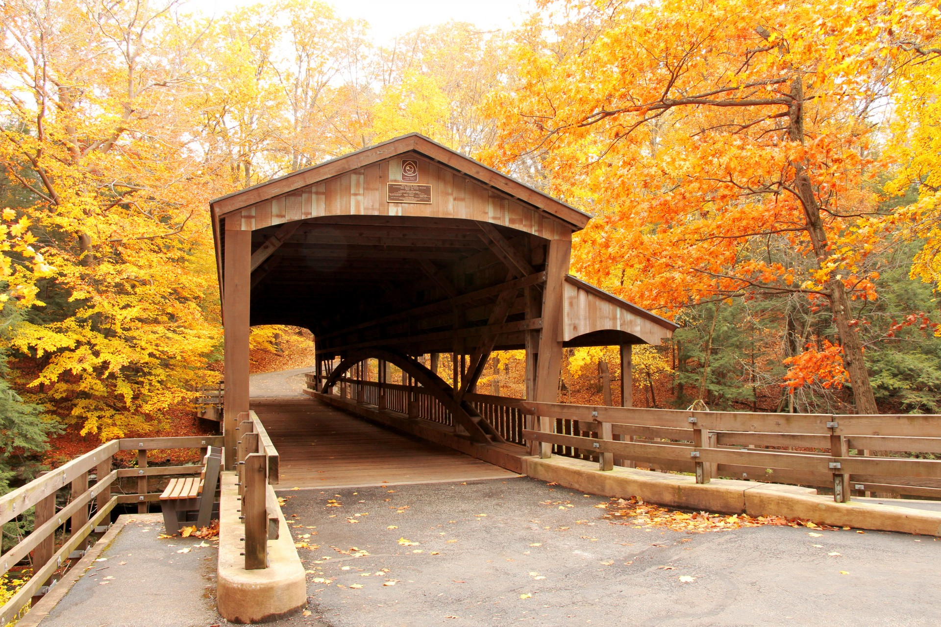 Fall Leaves Road Wallpaper Covered Bridge In Forest 2 Free Stock Photo Public