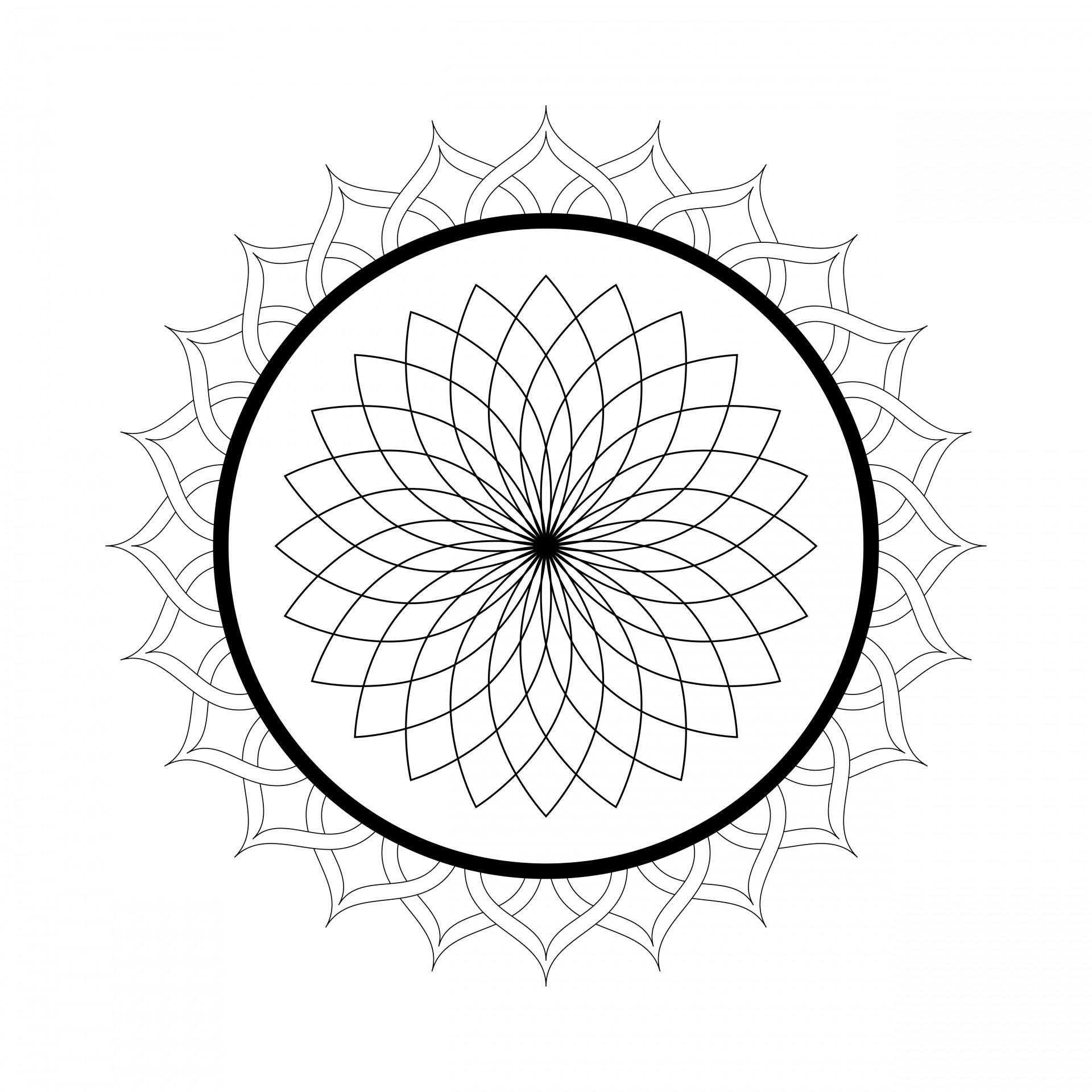 Kaleidoscope Mandala Coloring Page Free Stock Photo