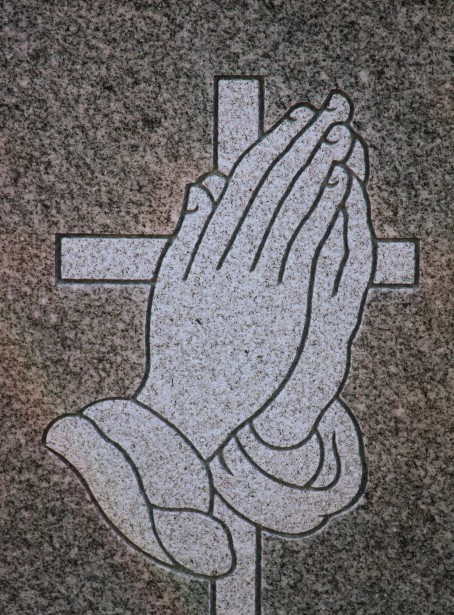 Carving Headstone Praying Hands