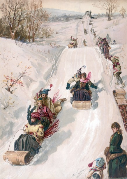 Tobogganing Pretty Winter Scene Free Stock Photo Public