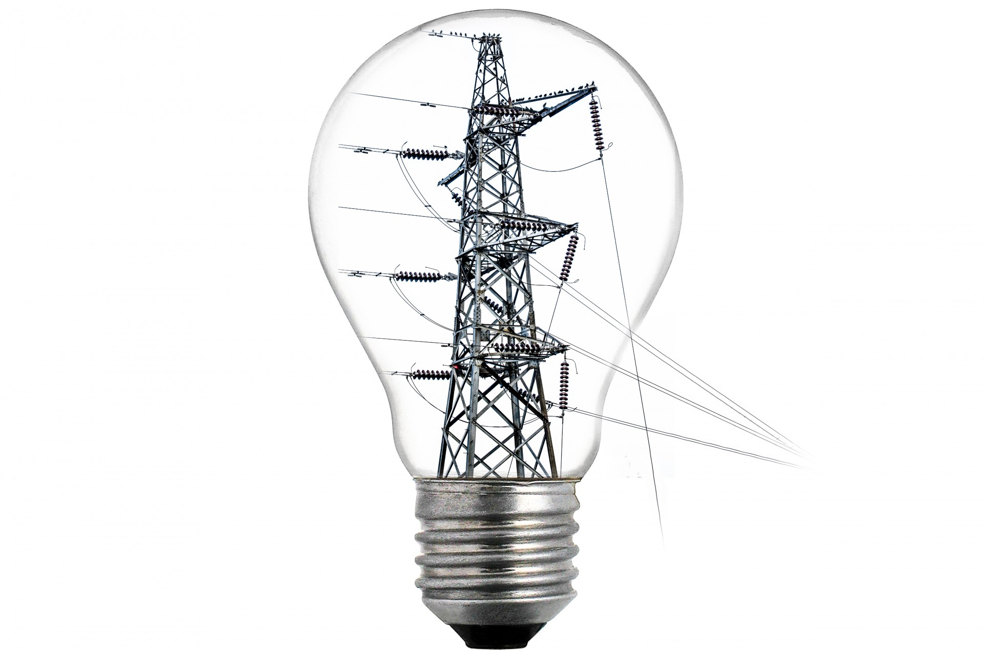 High Tension Power Line And Bulb Free Stock Photo