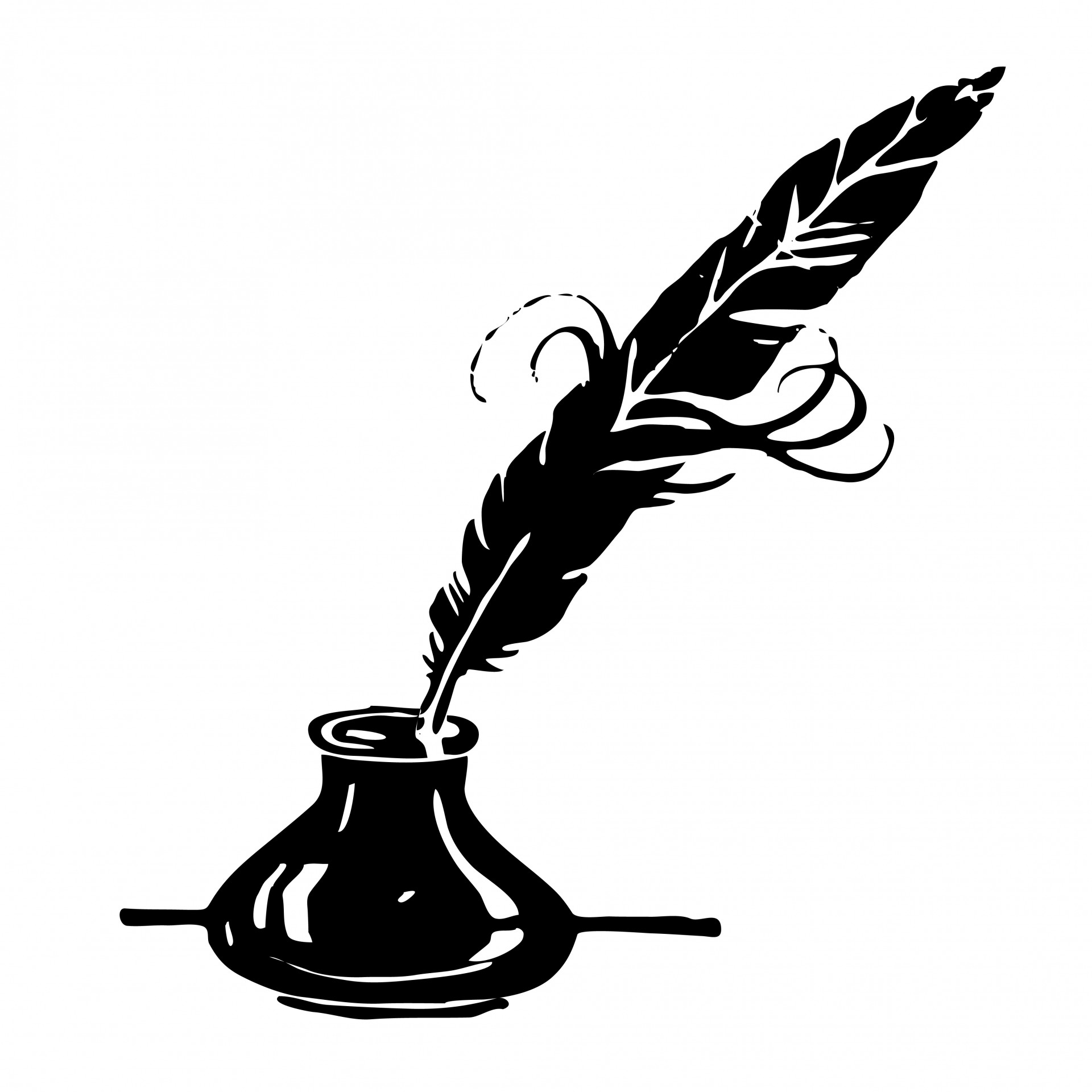 Ink Amp Feather Quill Clipart Free Stock Photo
