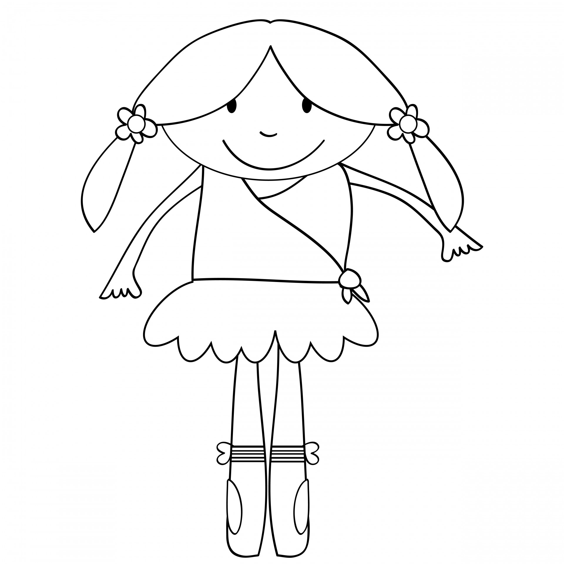 Ballerina Kids Coloring Page Free Stock Photo