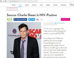 A report about Charlie Sheen via People.com 11/16/2015