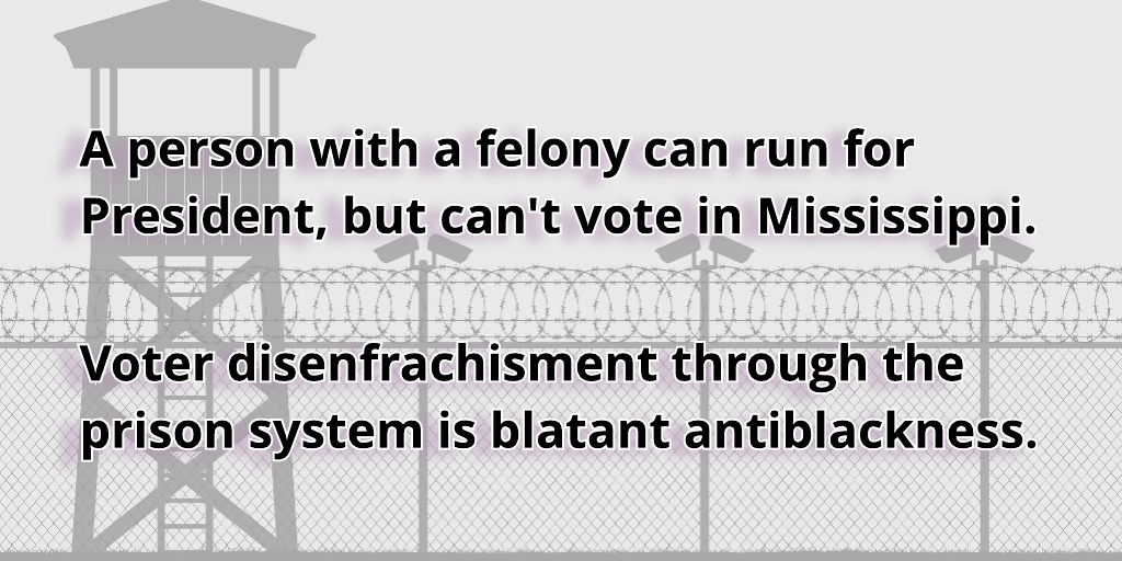A felony does not disqualify you from being President and it shouldn't disqualify you from voting