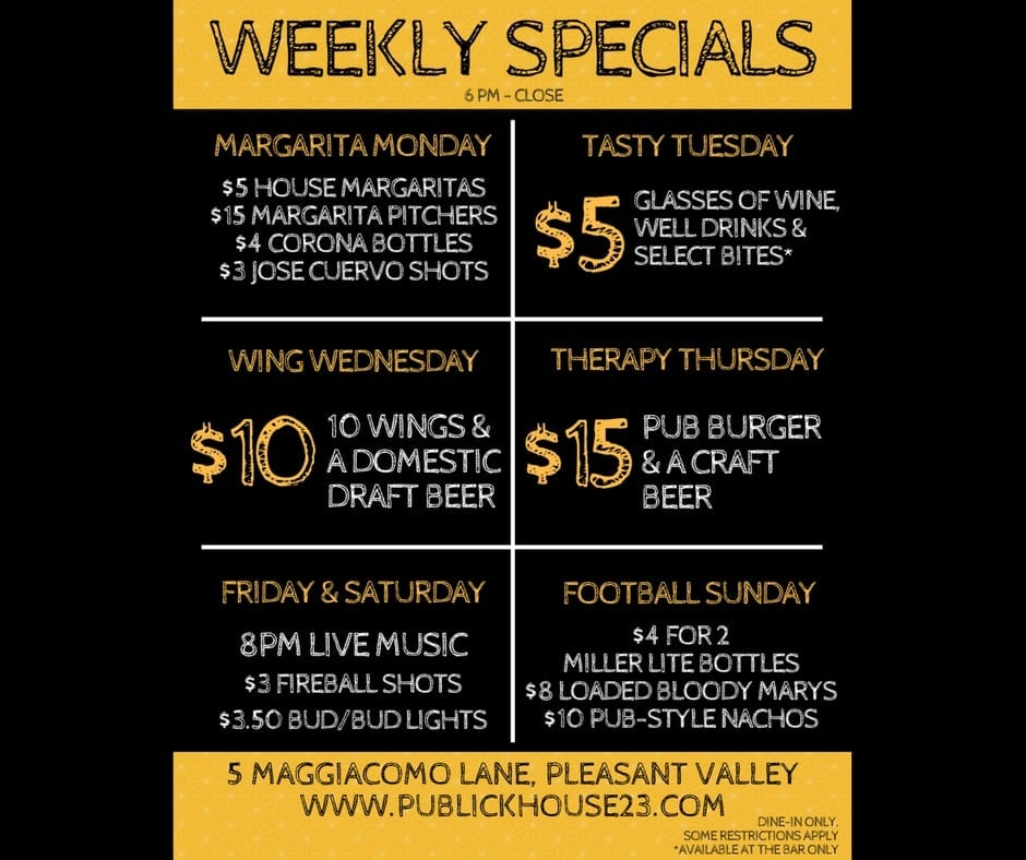 new kitchen prices publick house 23 weekly food & bar specials menu