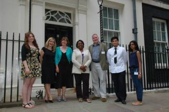 Authors, Reading Agency and volunteers outside No.11 Downing Street