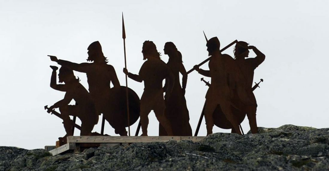 Literally-Metal Vikings greet tourists as they enter L'anse Aux Meadows, in Newfoundland. Photo by Douglas Sprott, https://flic.kr/p/bweQV5.