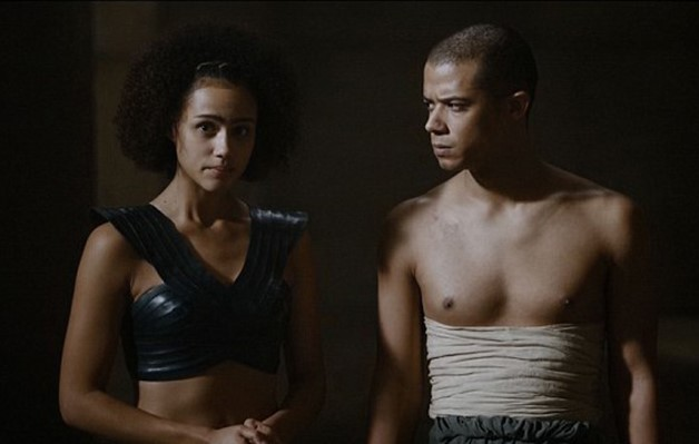Missandei and Grey Worm, the only two remaining significant characters of color in Game of Thrones. They are also in (something of a) relationship, and the vast majority of their dialogue is about Daenerys.