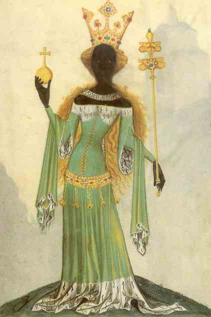 A medieval queen with blonde hair and black skin. She wears a green dress; in one hand she holds a gold orb, and in the other, a gold scepter.