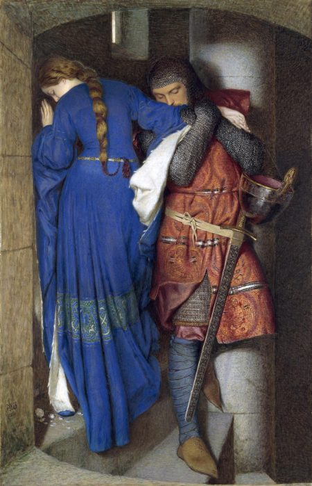A painting of two people, a woman in a blue medievalesque dress, and a man wearing a red tunic and medieval armor. They are in a small spiral staircase, and the man is leaning on the woman's arm.