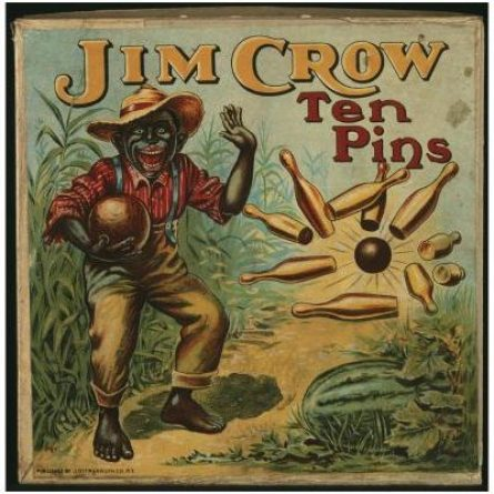 """An early 20th century stereotyped image of a black man bowling, titled """"Jim Crow Ten Pins"""""""