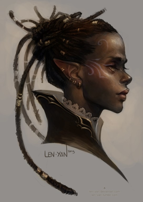 An artistic portrait of a black woman elf, with long pointed ears, gold-beaded dreadlocks, and lavender facepaint.
