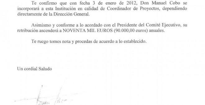 Carta del Director General de Ifema a la Directora de Recursos Humanos informando de la contratación de Manuel Cobo.- PÚBLICO