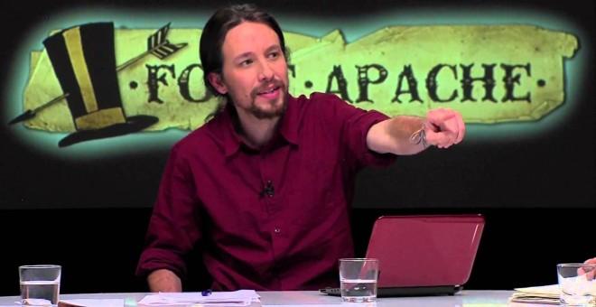 Pablo Iglesias, presentando Fort Apache cuando comenzó el programa, en enero de 2013.
