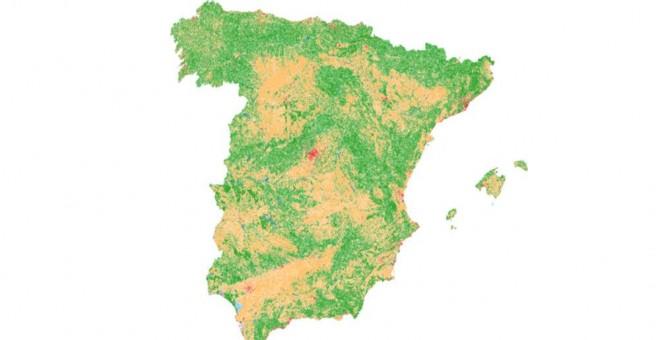 Cambios en la ocupación del suelo en España según los sucesivos Corine Land Cover de 1990, 2000, 2006 y 2012. En rojo las zonas urbanas, en naranja las zonas agrícolas y en verde los espacios con vegetación natural.
