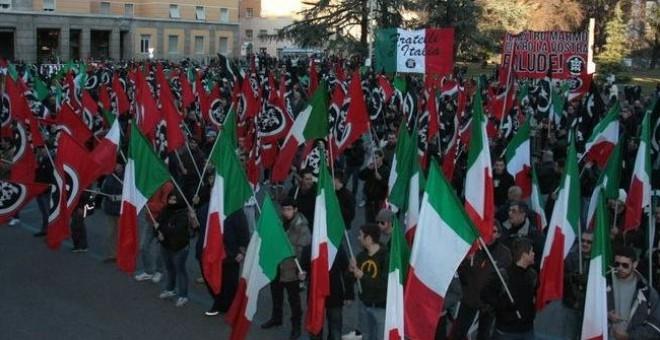 Manifestación de Casa Pound.- Pietro Chiocca (fotografía de dominio público)