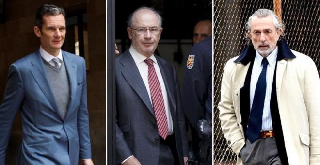 En la foto, Iñaki Urdangarin, Rodrigo Rato y Francisco Correa, los protagonistas judiciales de la semana / EFE/REUTERS