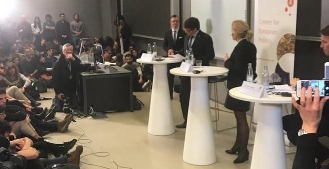 Puigdemont, en la conferencia en la Universidad de Copenhague. / EP