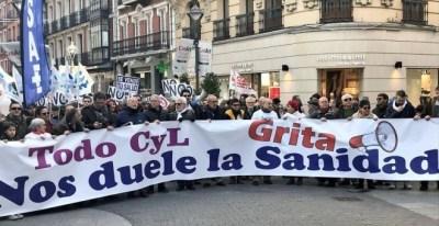 Manifestación por la sanidad pública en Valladolid.