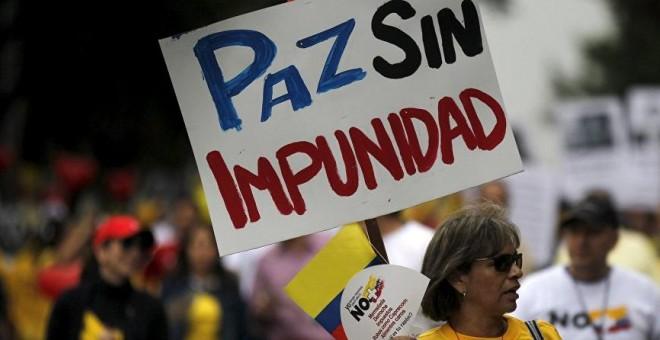 Una protesta campesina en Colombia pidiendo paz sin impunidad. REUTERS
