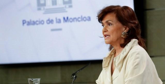 La vicepresidenta del Gobierno, Carmen Calvo, durante la rueda de prensa posterior a la reunión del Consejo de Ministros. EFE/Chema Moya