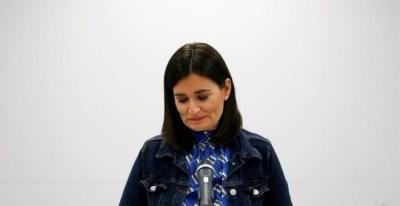 Carmen Montón, durante la rueda de prensa en la sede del Ministerio en la que ha informado sobre su dimisión. - EFE