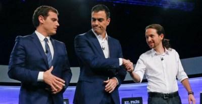 Albert Rivera, Pedro Sánchez y Pablo Iglesias. FOTO: JuanJo Martin/EFE