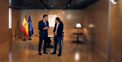 Pedro Sánchez y Pablo Iglesias durante la quinta reunión desde el 28-A / EFE