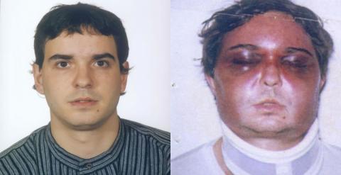 A la derecha, la fotografía que, según Unai Romano, le tomaron a su entrada a Soto del Real. Fuentes penitenciarias niegan que esta sea su fotografía de acceso