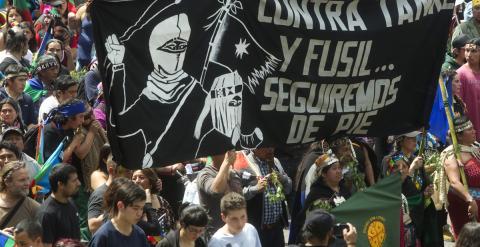 Protesta del pueblo mapuche en Santiago de Chile, octubre de 2014. - AFP