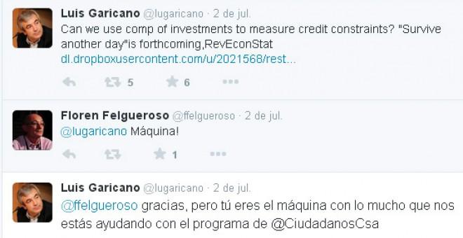 Algunos de los tuits que Luis Garicano y Florentino Felgueroso se han intercambiado a través de Twitter / Archivo