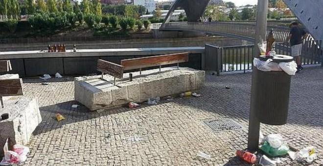 Basura en el parque Madrid Río durante la huelga.- TWITTER