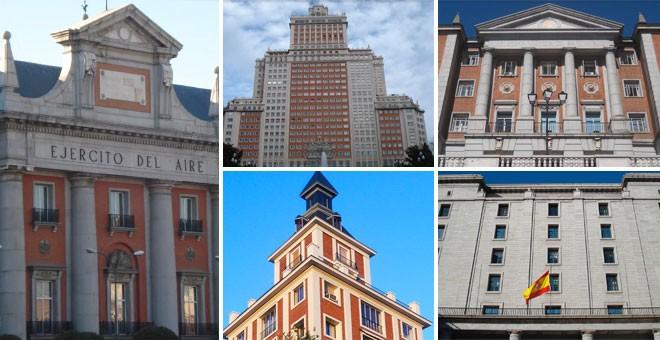 En la imagen: El antiguo Ministerio del Ejército del Aire, Edifico España, una torre del Paseo de Rosales, el Colegio Mayor San Pablo CEU y los Nuevos Ministerios.- IMÁGENES DE DAVID PALLOL.