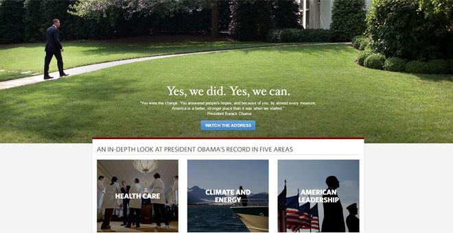 Antiguo aspecto de la web de la Casa Blanca con Obama de presidente.