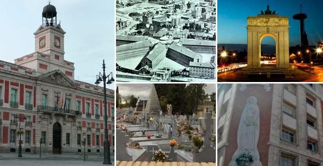 Algunos de los lugares de Memoria propuestos por el Comisionado al Ayuntamiento de Madrid