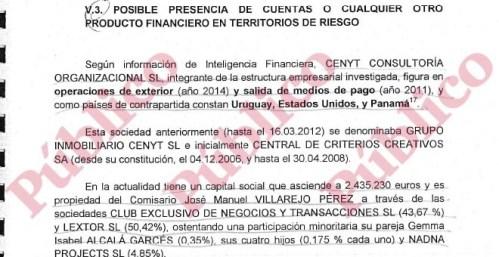 Extracto del informe sobre el origen ilícito del patrimonio del comisario Villarejo.