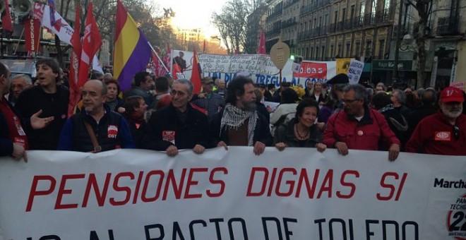 Imagen de la cabecera de la manifestación en Madrid. PÚBLICO
