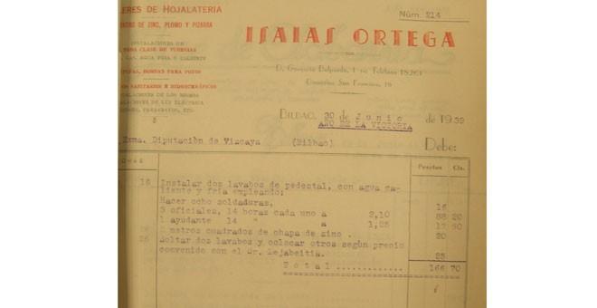 Facturas del viaje de Franco a Bilbao.