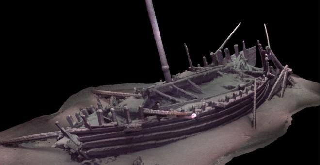 Modelo fotogramétrico preliminar del mismo barco completo, incluido el mástil, que ha permanecido intacto desde su naufragio hace unos 2.000 años./BLACK SEA MAP
