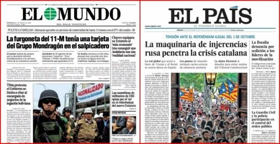 Izquierda: portada de 'El Mundo' que intentaba sostener la teoría de la conspiración sobre la autoría de ETA de los atentados del 11-M. Derecha: portada de 'El País' que sostiene que el apoyo al soberanismo en redes sociales lo fomentan los rusos.