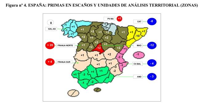 Mapa de análisis territorial de las primas de escaños por provincias asignados por la LOREG. JM&A