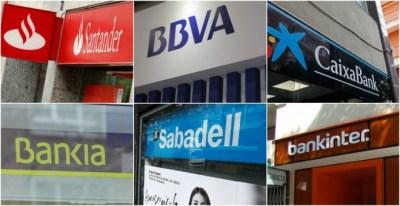 Logos de los seis grandes bancos (Banco Santander, BBVA, Caixabank, Bankia, Banco Sabadell y Bankinter) en sus sucursales. EFE/REUTERS/E.P.