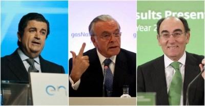 De izquierda a derecha, Borja Prado (Endesa), Isidre Fainé (Gas Natural Fenosa), y José Ignacio Sánchez Galán (Iberdrola). EFE/REUTERS