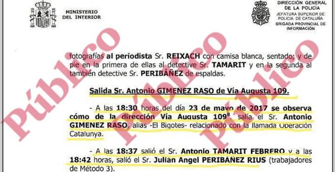 Fragmento del informe de la Policía Nacional sobre los materiales incautados a los Mossos d'Esquadra.