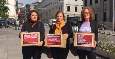 Entrega de las firmas de los colectivos feministas en el Congreso. | EUROPA PRESS