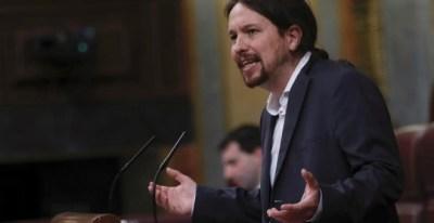 El líder de Podemos Pablo Iglesias, durante su intervención en el Congreso de los Diputados.-EFE/Fernando Alvarado