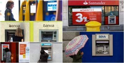 Cajeros automáticos en oficinas de los seis mayores bancos españoles, Caixabank, Bankia, Bankinter, Sabadell, Santander, y BBVA. EFE/REUTERS